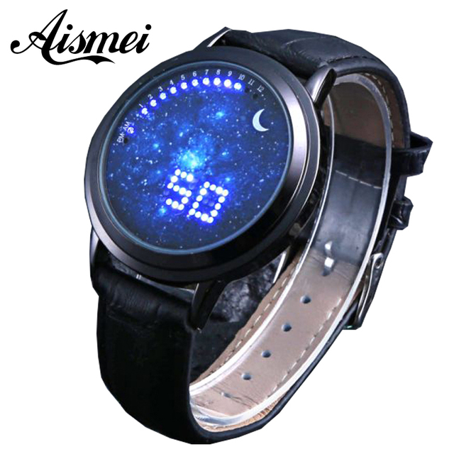 2016 New Fashion Starry Sky Touch Screen Watch Men Women LED Watches Casual Leather man Sports Wristwatches Relogio Masculino
