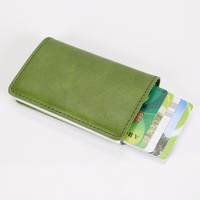 PU leather Cheap price card holder money clip card protector sleeve, RFID credit card case
