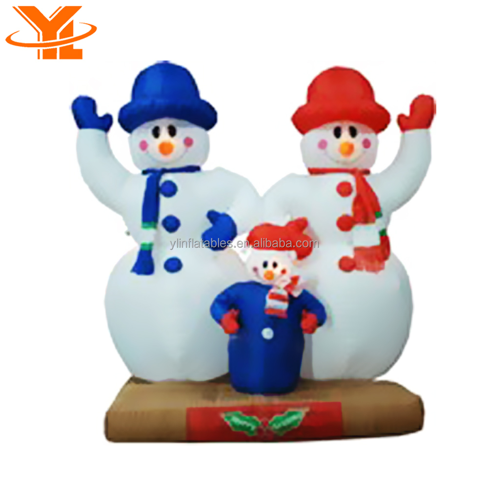 Outdoor Inflatable Christmas Snowman Decorations for Yard, A family of Three Inflatable Christmas Snowman