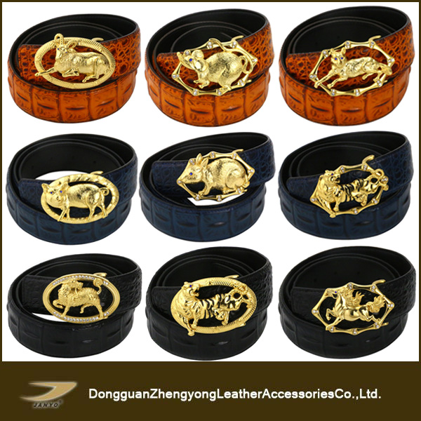 New design personalized animal buckle mens leather belts