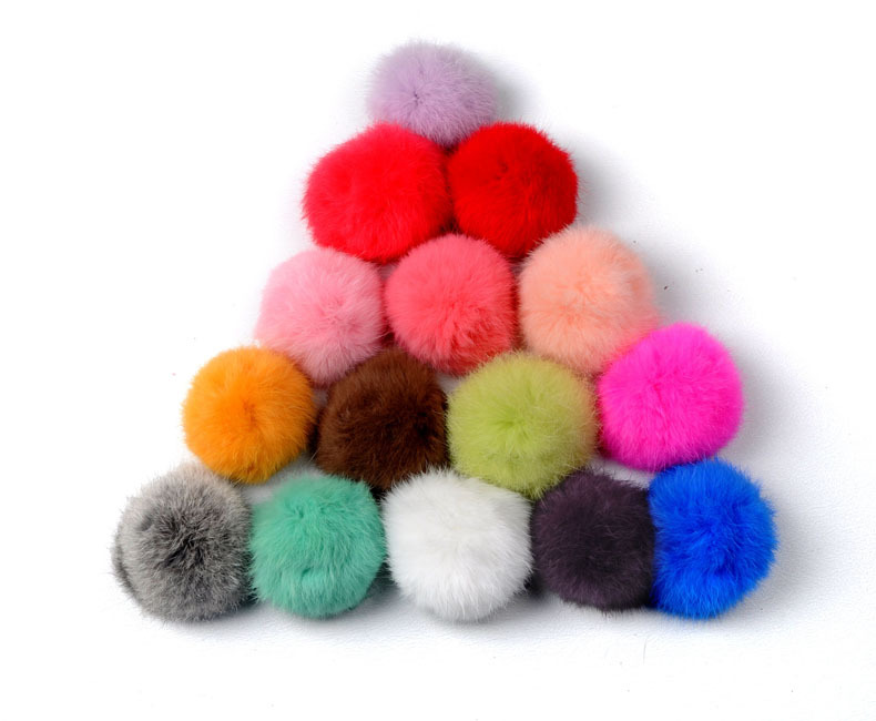 Lovely Fur ball Keys Hangings Accessories Bag Accessories Fuzzy Ball keychain (Pink)