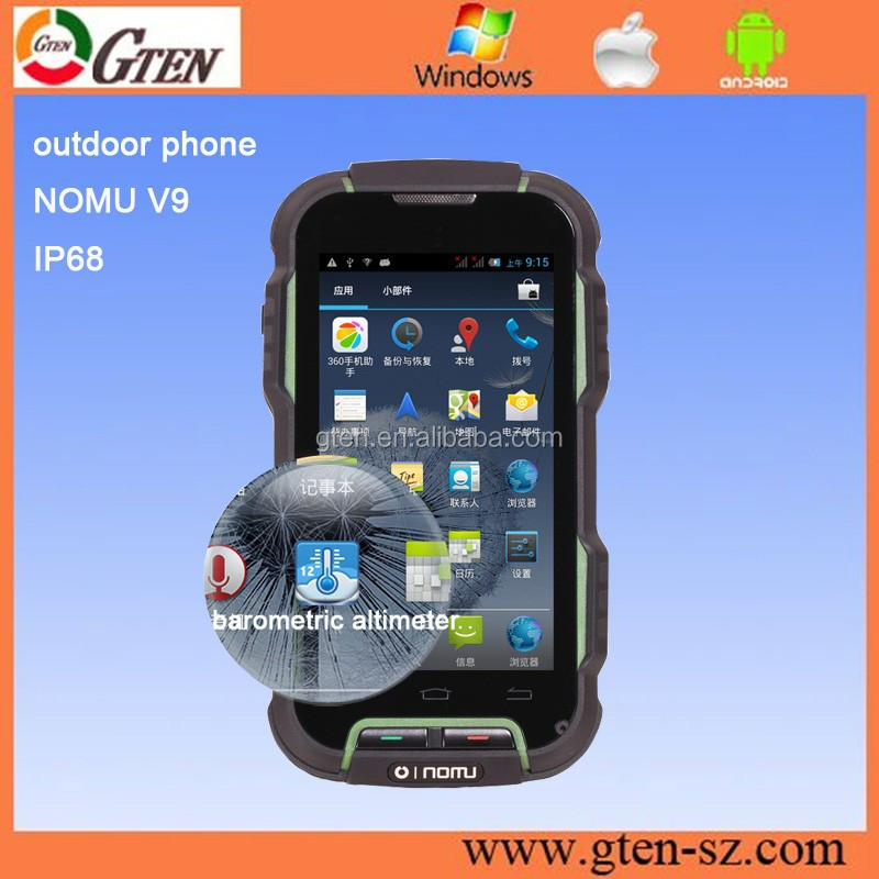 rugged smart phone 4.0INCH MTK6589 AFRICA ALTIMETER CLIMB SAFARI RUGGED CELL PHONE NOMU V9 android 4.4