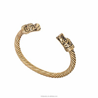 Vintage Screw Bangle Antique Gold Snake Screw Cable Animal Head Cuff Bangle Bracelet for Women Love Nail Bracelet