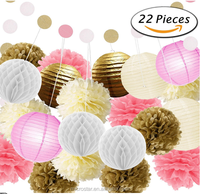 22 Pcs Pink Gold Tissue Pom Poms Paper Flowers Tissue Lanterns Polka Dot flower Garland For Birthday baby shower Decorations
