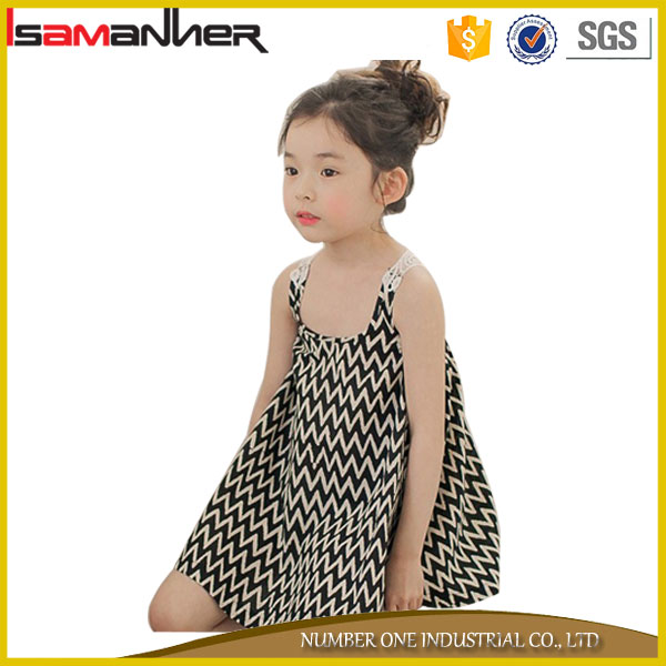 OEM summer 2-6 years old cotton striped fashion design small girls dress