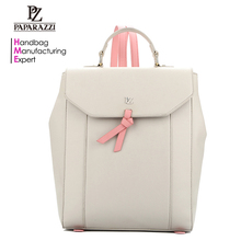 Alibaba wholesale NO. 7461 new fashion Beige back pack school foldable woman PU leather backpack