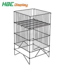 square stacking metal wire basket mobile storage wire dump bin