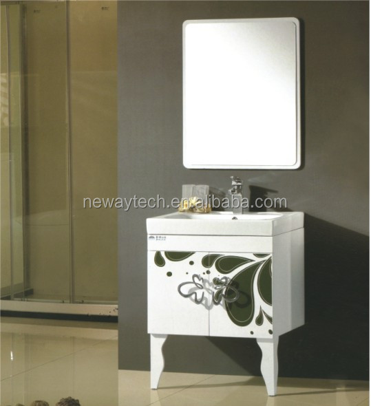 Modern free standing pvc bathroom vanity cabinet with mirror