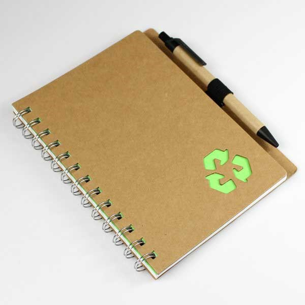 Laser die cut design paper spiral notebook kraft paper cover