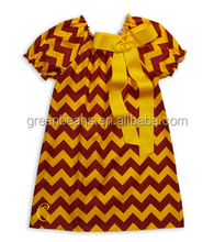 Wholesale bowknot peasant dress short sleeve frock design for girls cotton gold brown chevron dress