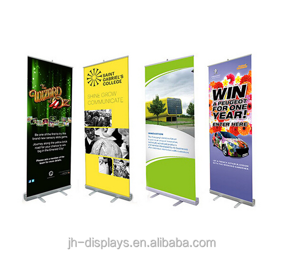 Advertising wide screen roll up banner stand, roller screen display