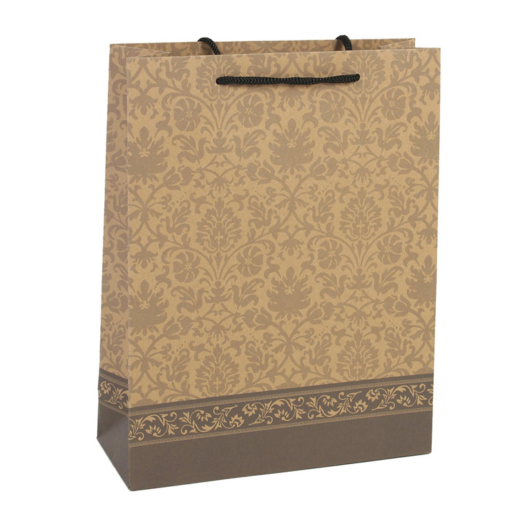Customized high quality kraft paper recycle tote shopping bag
