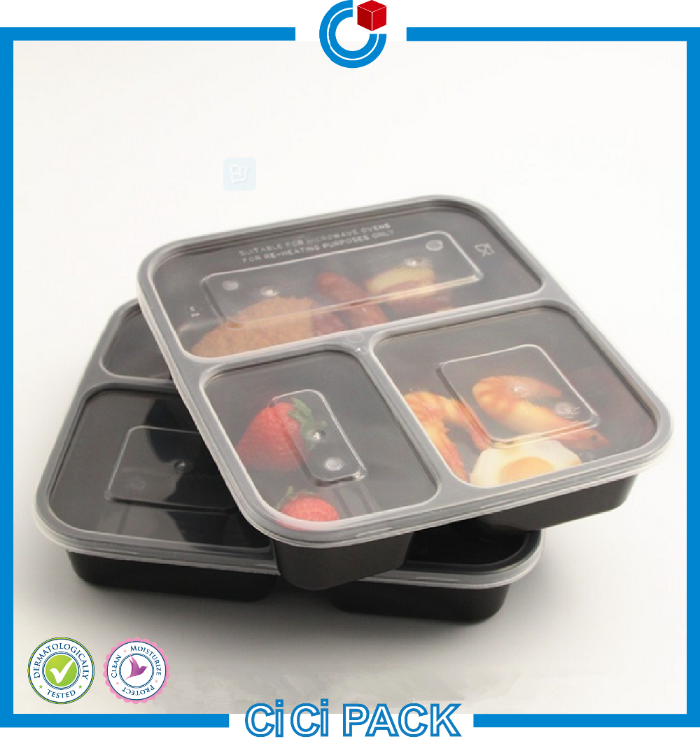 OEM Design PP PET Plastic 3 Compartment Food Container For Fast Food