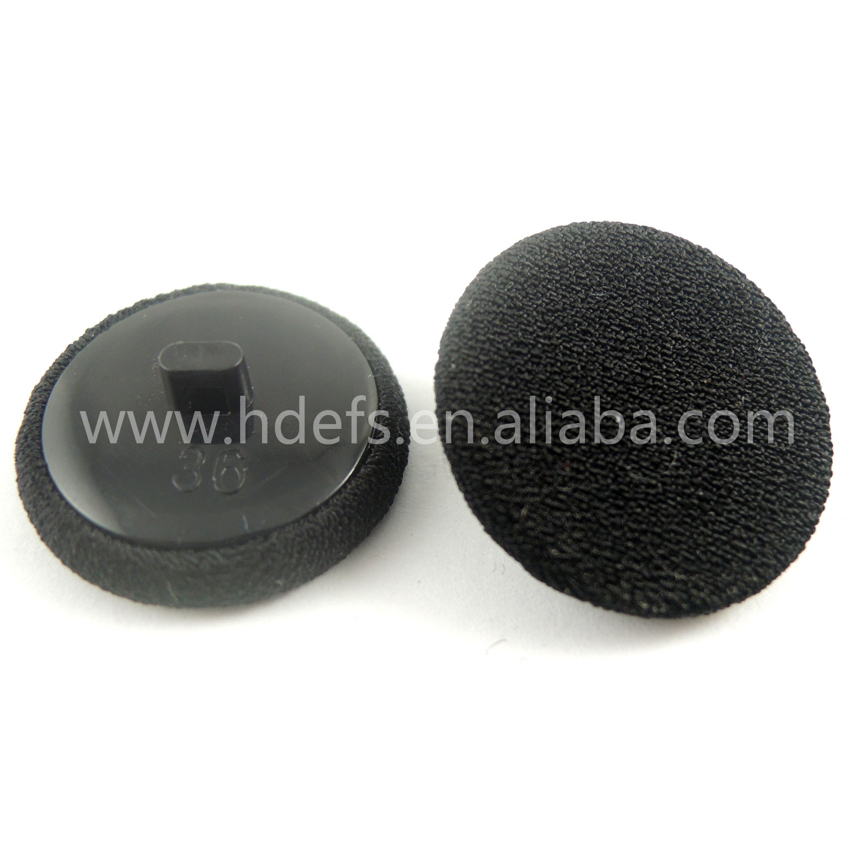 36L flat button 23mm Plastic Black Back fabric cover buttons
