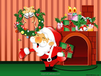 Santa el poster el light up el display for decoration with attractive animation and long life time