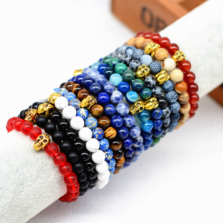 8mm Jasper Nature Stone Bead Elastic Rope Bracelets With Skull For Men Women