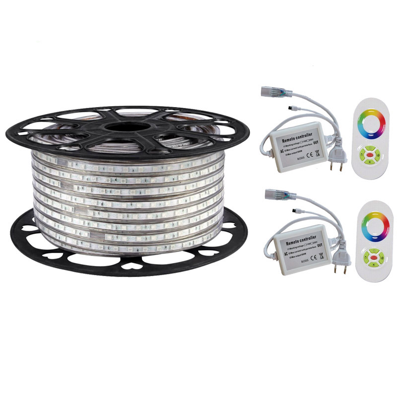 Warm white <strong>RGB</strong> Waterproof IP67 5050 100m 220V 110V led Rope lighting for outdoor + RF Remote controller by DHL