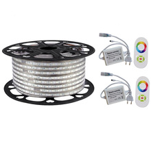 Warm white RGB Waterproof IP67 5050 100m 220V 110V led Rope lighting for outdoor + RF Remote controller by DHL