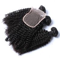 Malaysian afro kinky curl sew in hair weave, human kinky curl hair with closure fast delivery