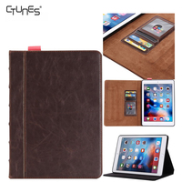 For iPad Pro 9.7 Case,Brown Leather Flip Case Protective Cover With Card Slots Note Holder For Apple iPad Pro 9.7