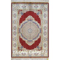 Yilong 4'x6' handknotted persian silk rug medallion indian hand knotted rugs