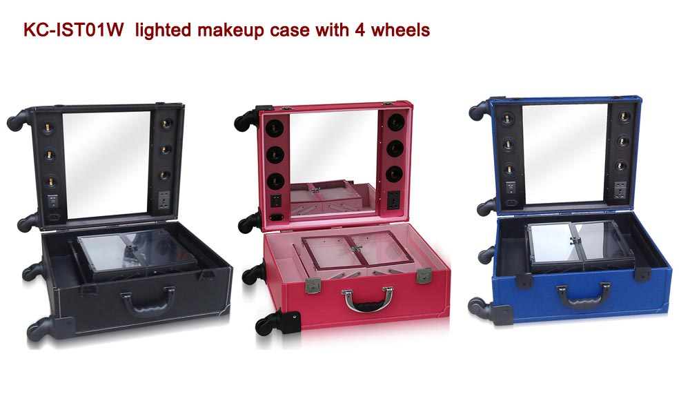New design lights pvc leather cosmetic case with lights