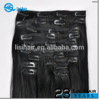 Hot sale!!! wholesale double weft full head full cuticle hair extension for white people clips