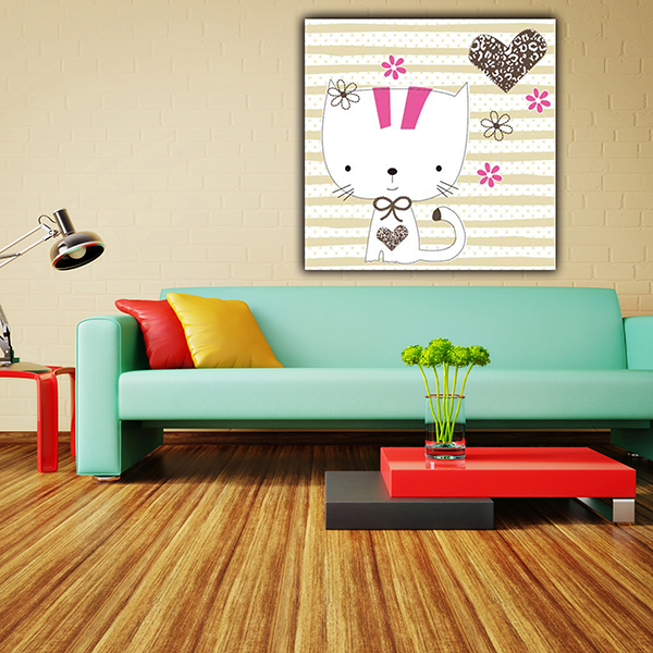 House decoration cartoon cat picture kids dry erase canvas boards painting