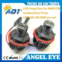 China Supplier!!!20W E39 LED Angel Eyes Halo Ring Marker HeadLight Bulbs Xenon White 6000K for BMW E87 E39 E60 E61 E63 etc