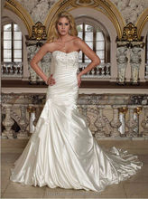 ivory satin beaded scoop neck ball gown discount wedding dresses