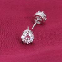 925 sterling silver Artificial diamond single zircon stone simple design fashion teen earring