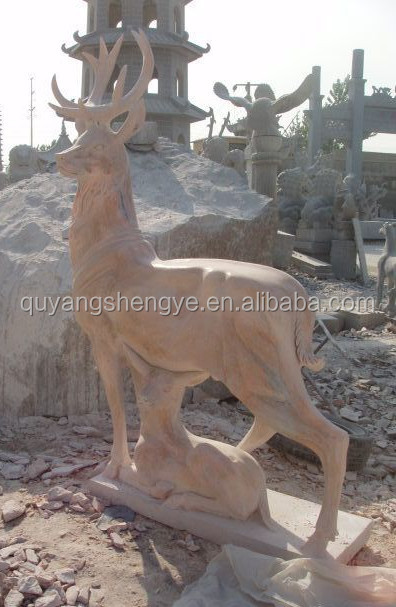 outdoor marble stone deer sculpture