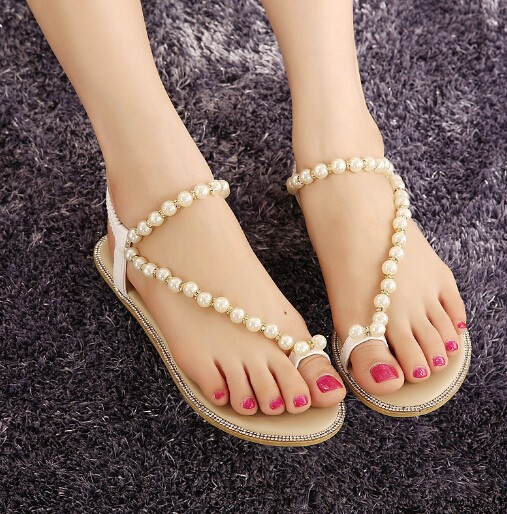 C56960S Latest style fashion design beautiful beads decorated ladies sandals