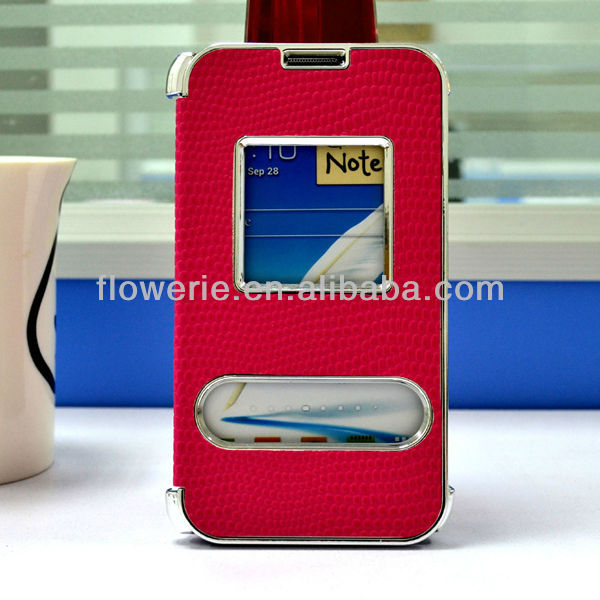 FL669 high quality wholesale Chrome design Flip PU Case for samsung note2 with caller ID snake skin electroplating for note2