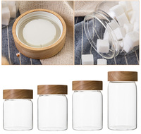 Wood Screw Lid Glass Jar Wooden Lid Canister With Wood Lid