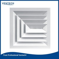 square ceiling diffuser with damper for air ventilation