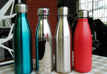 Double wall colored vacuum swell water bottle,Cola shaped stainless steel vacuum flask,Double wall sport outdoor water bottle