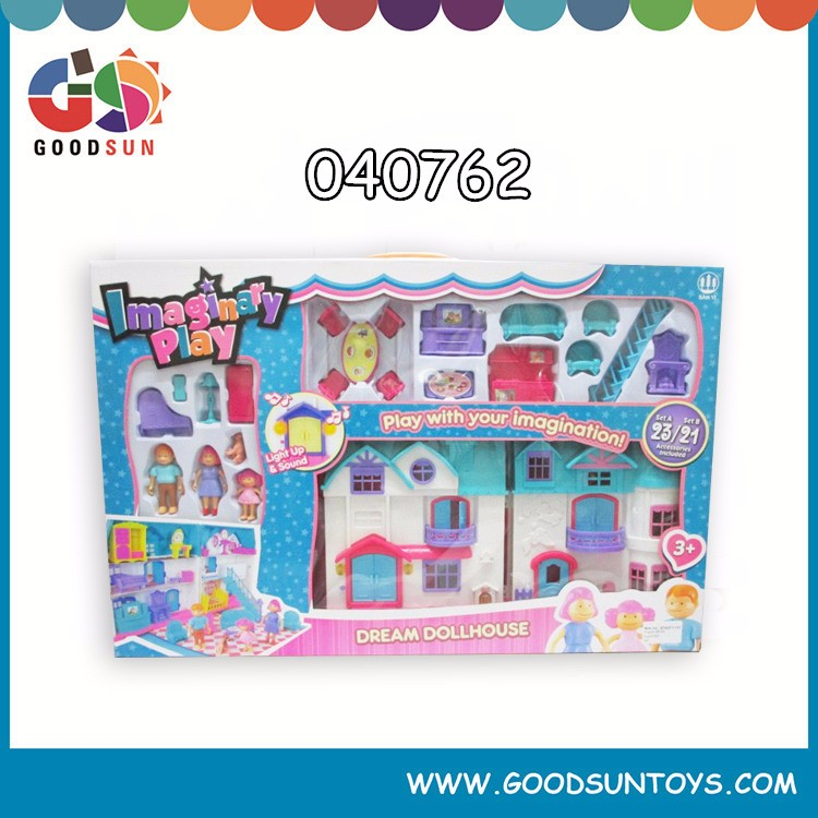 2016 new toys for kids plastic children play colorful house toys set with light&music free sample chenghai toys small order