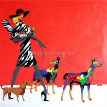 Sexy Lady and Her Three Dogs Red Background canvas pop art painting wholesaler price