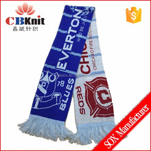 custom design acrylic knitted double layers muffler soccer football fan scarf