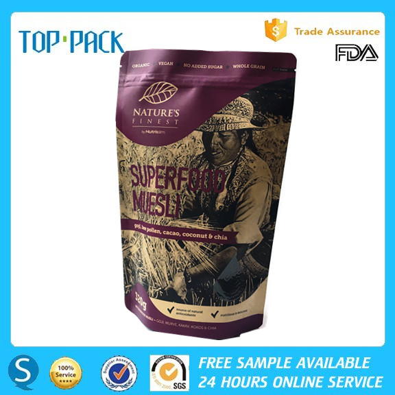 New design food packaging kraft paper zip lick aluminum foil doypack for protein powder