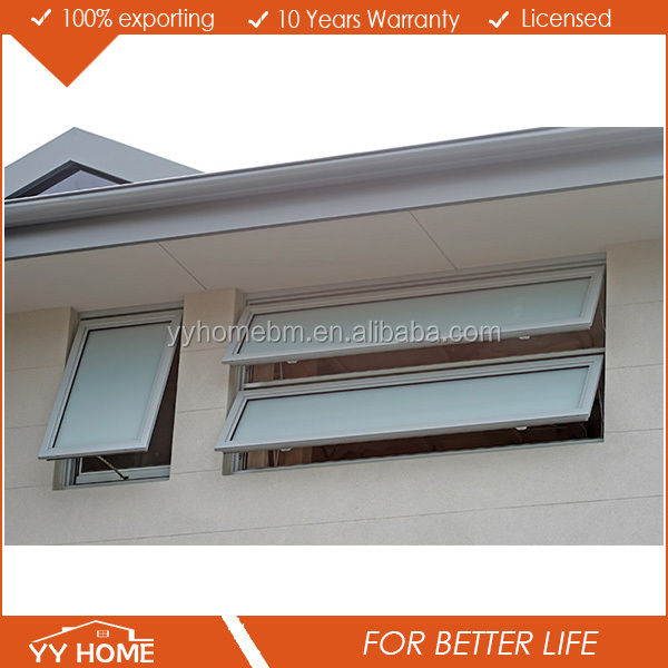 YY Home hotsale small aluminum glass awning type toilet window