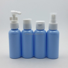 free samples blue empty clear toiletry travel bottle PET airplane travel bottle kit