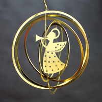 Latest design 2D round shaped metal hanging ornaments for Christmas tree gift