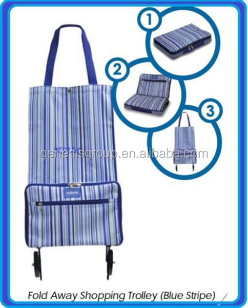 foldable Style and Powder coatin Surface Handling foldable trolley shopping bag