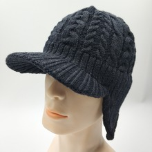 Unisex Winter Cable Stripped Visor Acrylic Knitting Earflap Beanie Hat Polar Fleece Lining