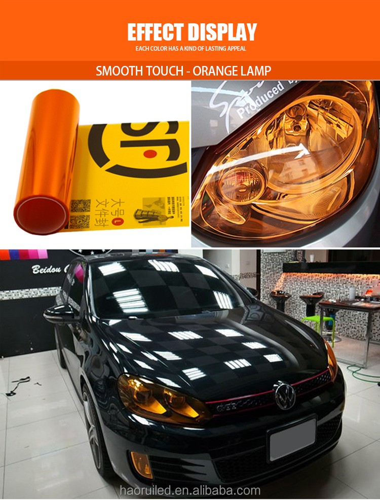 High transparent 30*90cm colorful PVC material tint color car headlight protection film for auto headlight and tail lamp