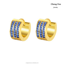 Fashion Jewelry Made In China Wholesale 7*9mm Gold Plated Cheap Earrings Women Designs With Colored CZ Crystal