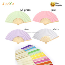Promotional bamboo wood rid foldable solid color paper fans for gift hand fan