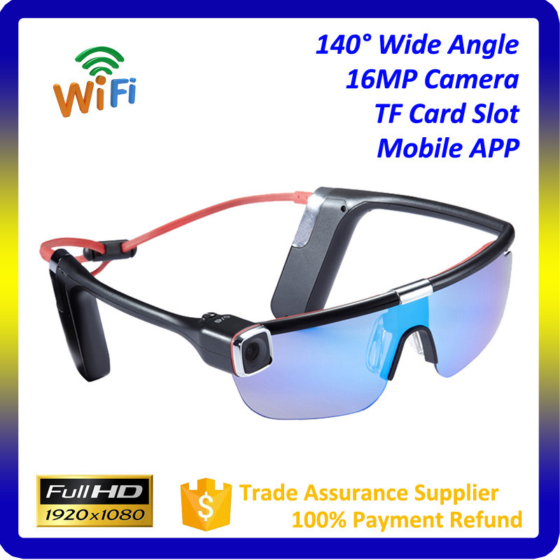 China 2016 new products cameras digital Portable Full HD Wide Angle wireless glasses camera Wifi With 4 Colors Sunglass